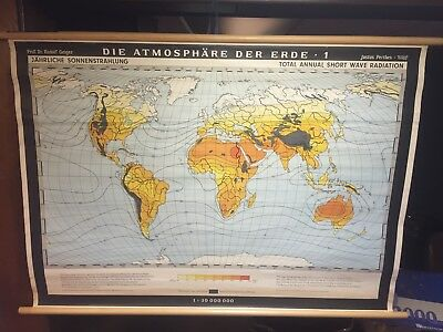 Vintage Rare Short Wave Radiation World Wall Map In German Language