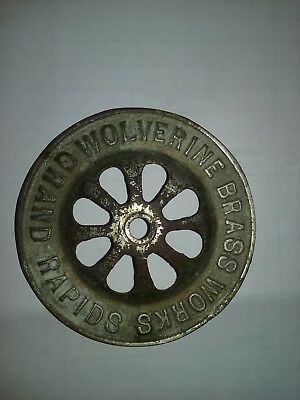 Antique sink tub shower drain strainer, Wolverine Brass Works Grand Rapids Mich.