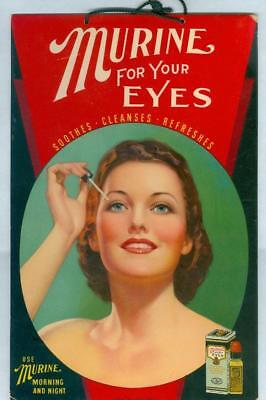 Murine Eyedrops Adv Counter Display Sign Beautiful Woman Great Color 1940s/50s?