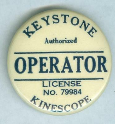 """Authorized Operator"" Pinback Button Keystone Kinescope Movie Projector 1920/30s"
