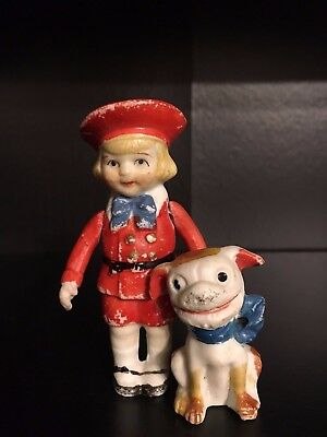 RARE BUSTER BROWN AND TIGE EARLY1900s, HAND-PAINTED FINE BISQUE CHINA FIGURAL'S