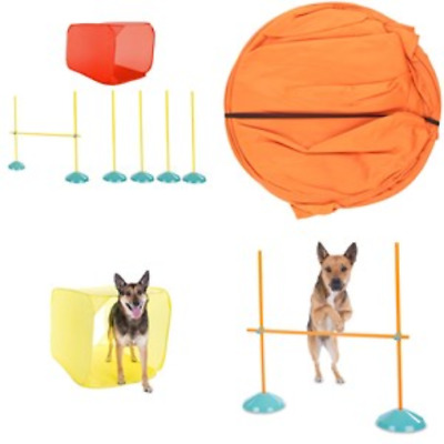 Dog's Agility Starter Kit Obstacle Course Training Equipment Tunnel Weave Pole
