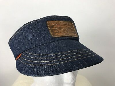 RARE VTG 70s Levis Orange Tab blue denim visor hat leather adjustable one size