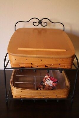 Longaberger 1999 Tapered Paper Tray 2 Basket Combo Wrought Iron Stand Protector