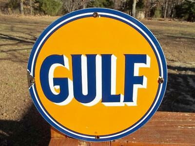 Porcelain Gulf Oil Gasoline Sign Gas Station Pump Plate! Round Advertising Sign