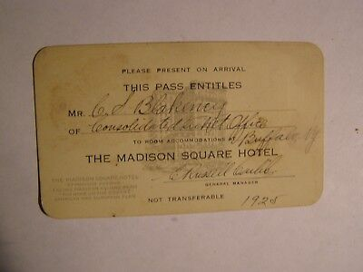 1925 Annual Pass The Madison Square Hotel for C.S. Blakeney