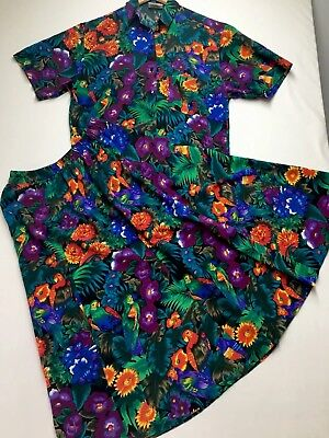Vintage CRESTKNIT Tropical Birds & Flowers 2 Piece Skirt & Top Size 12