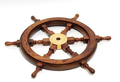 "Solid Brass Hub Nautical home  Decor Ships Steering Wheel Teak Wood 30"" inch"