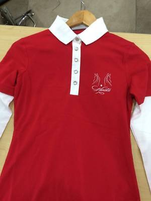 Kwesta Laura Casual Polo Shirt Long Sleeve Red White  L 8