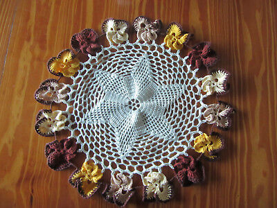 Vintage Pansy Edged Large Hand Crocheted Doily 40 cm diameter