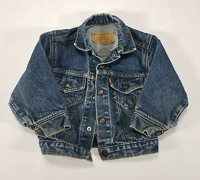 VTG Little Levi's Denim Jean Jacket 5 Toddler Dark wash Orange Tab 90s USA 72223