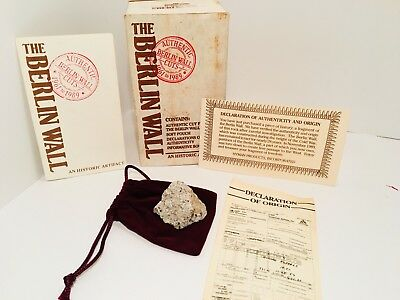 Authentic 1989 Piece of The Berlin Wall W/ COA, Paperwork, Pouch, Box, Vintage