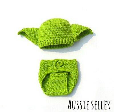 Star Wars yoda hat pants handmade knit newborn baby Photo Prop costumes beanie