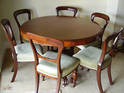 Antique Victorian CEDAR Round DINING TABLE plus 6 Vic MAHOGANY upholsterd CHAIRS