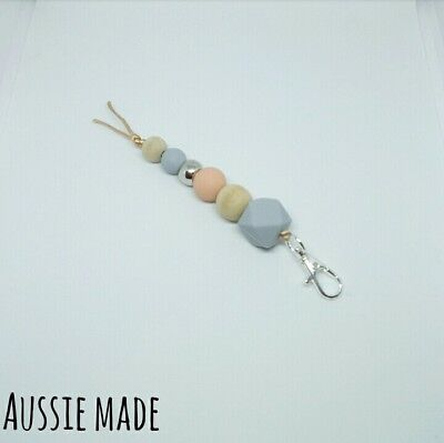 Silicone Beads Lanyard Keyring Chain Swivel Key Ring Clasp Holder Peach Silver