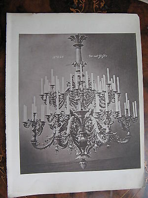 Candle Chandelier Light Fitting Ceiling Light c1870 Photogravure