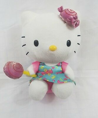 """Hello Kitty Plush Toy 10"""" Blue Candy Dress With Candy Bow and Sucker In Hand"""
