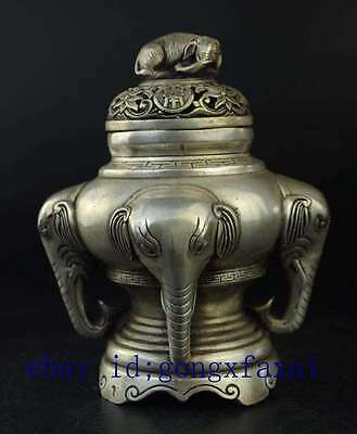 China antique Dynasty Silver Lucky Elephant Incense Burner Censer / daqing mark
