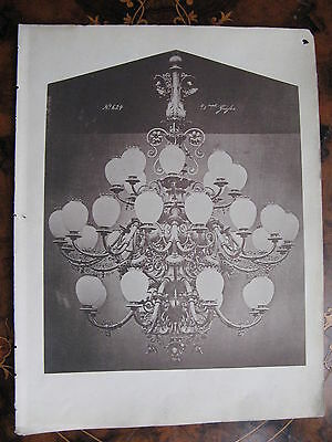 Chandelier Light Fitting Ceiling Light c1870 Photogravure