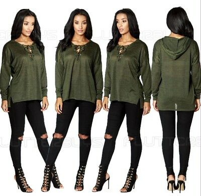 Khaki Womens Ladies Winter Top Lace Up Hooded Jumper Shirt Blouse Sexy Size New