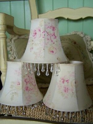 RACHEL ASHWELL~Simply Shabby Chic 3 x Chandelier lamp Shades Pink Floral Roses