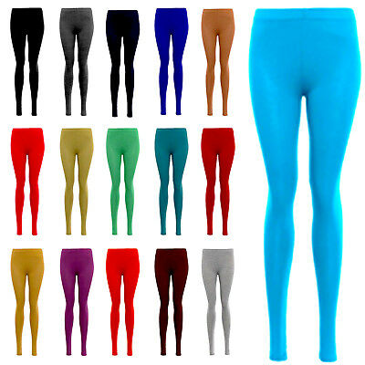 Womens Plain Strechy Legging Ladies Viscose Full Length Leggings Plus Size