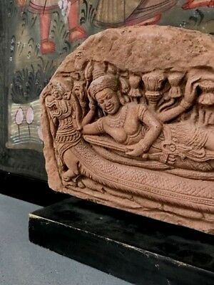 Antique/vintage S.e.asia. Carved Red Sandstone.  Reclining Vishnu On Stand.