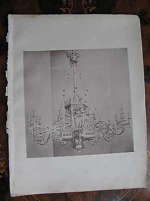 Gas Chandelier Light Fitting Ceiling Light c1870 Photogravure