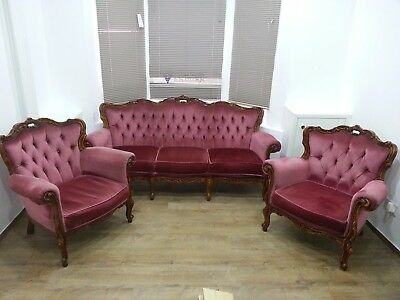 French vintage 3 seater sofa and two armchairs excellent condition