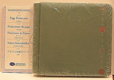 Creative Memories Green Daisy Design 7 X 7 Album  Bnip + Pages &  Protectors