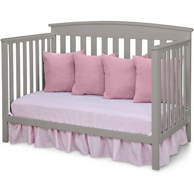 Convertible Crib Bed Baby Toddler Full Daybed Gray 4 in 1