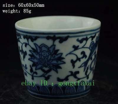chinese antique hand engraving porcelain Blue and White fish cup KK