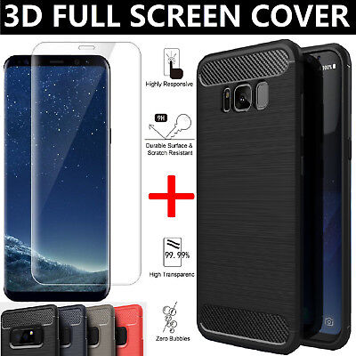 Tempered Glass Screen Protector Case Cover For Samsung Galaxy S8 S9 Plus Note 8
