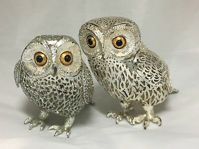 Owl Figurines (Two) by Christofle France  - Silver - Inlaid Onyx Eyes