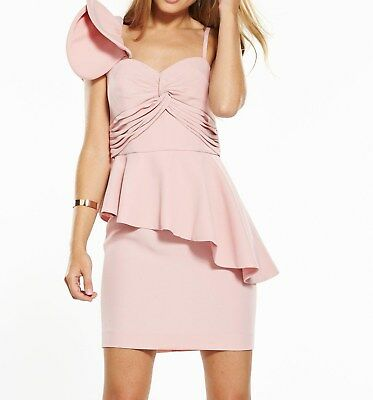 Ladies Pink Frill One Shoulder Mini Dress V by VERY - sz 18