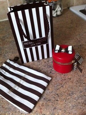 New- Henri Bendel Mini Red Leather Ring  Box With Tags And Bags