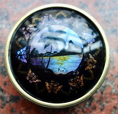 Art Deco Butterfly Decorated Brass Round Box