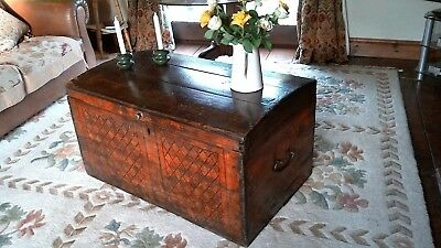 Original Continental decorated Pine Chest/trunk Coffee Table