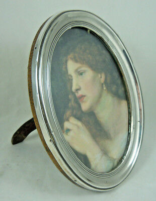 Antique Oval Solid Silver Photo Frame Birmingham 1914
