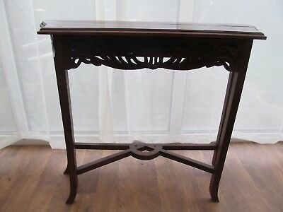 Slim Console Hall Table Carved Fretwork Wood Warped  Reproduction  Antique