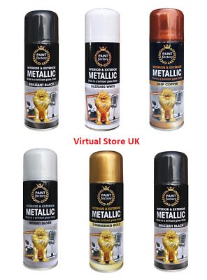 Gold SILVER Metallic Spray Paint Decorative Interior & Exterior Paint 200ml NEW