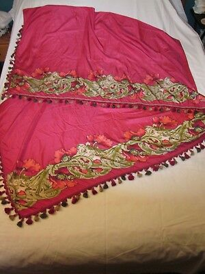 Antique Silk Piano Shawl/Scarf with Colored Tassels & Vibrant Colors Red Poppies