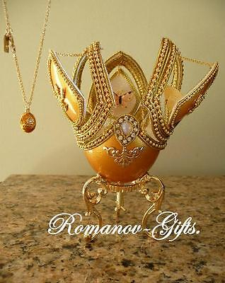 Russian Imperial Monarch Butterfly Gold Music Box Egg and  Egg Necklace