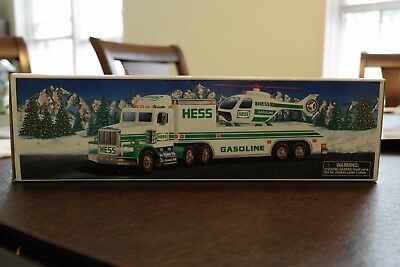 1995 HESS TOY TRUCK - MINT TOY TRUCK AND HELICOPTER - never played with