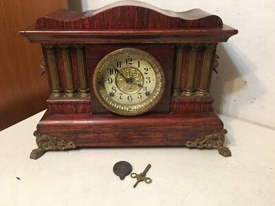 Rare Seth Thomas Faux Wood Grain Adamantine Mantle Clock