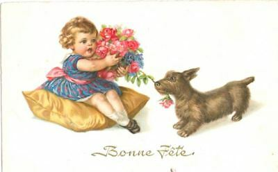 Vintage RARE  Postcard PC  Scottie Terrier Dog Happy Birthday Netherlands c1950