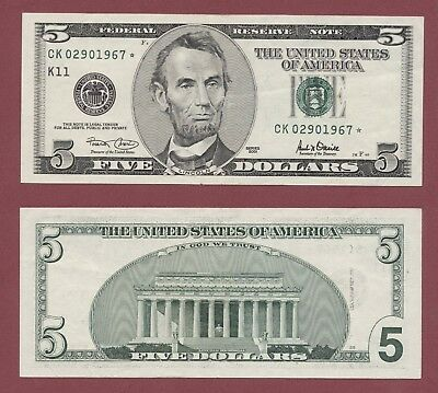 United States of America U.S.A. 5 Dollar 2001 Series *REPLECIMENT Star Note