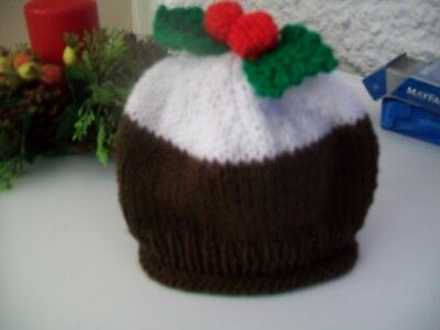 Hand Knitted Baby Hat Christmas Pudding  0-3 Months