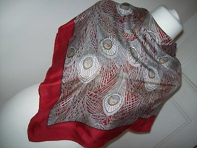 Liberty red hera peacock feather design vintage silk scarf