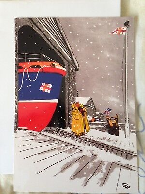 Giles Christmas Card for RNLI features Grandma /cat up a mast Collectable Unused
